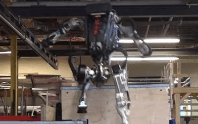 Boston Dynamics' Atlas robot leaps up stairs